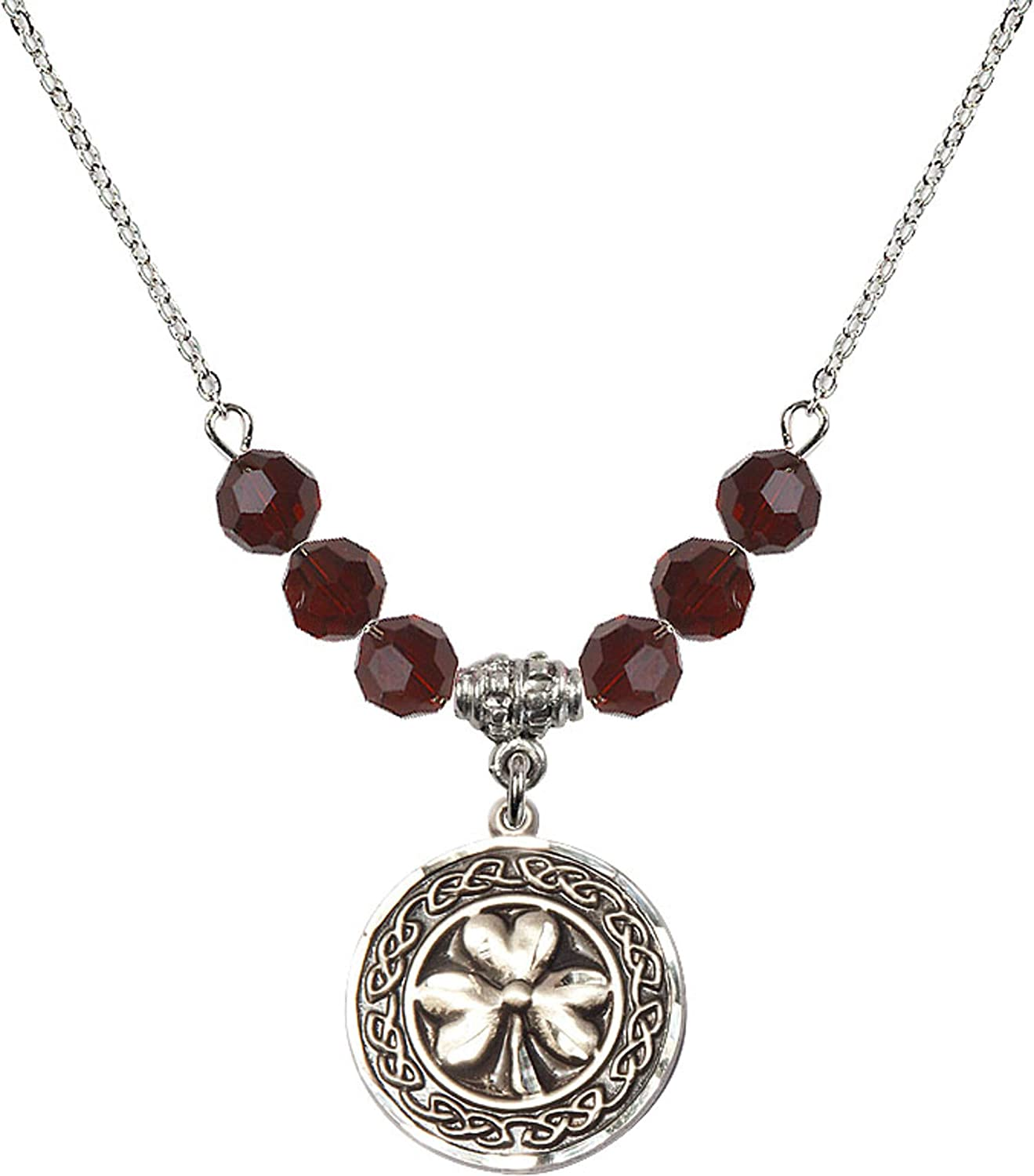 Bonyak Jewelry 18 Inch Rhodium Plated Necklace w// 6mm Red January Birth Month Stone Beads and Shamrock w//Celtic Border Charm