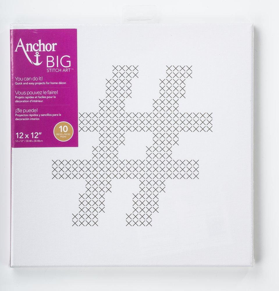 Anchor Big Stitch Counted Cross-Stitch Kit w// Embroidery Floss Heart 12 x 12