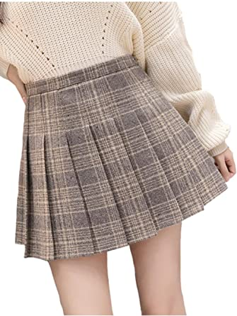 Suvotimo Faldas Plisadas Mini A Cuadros Línea A Falda Cintura Alta ...