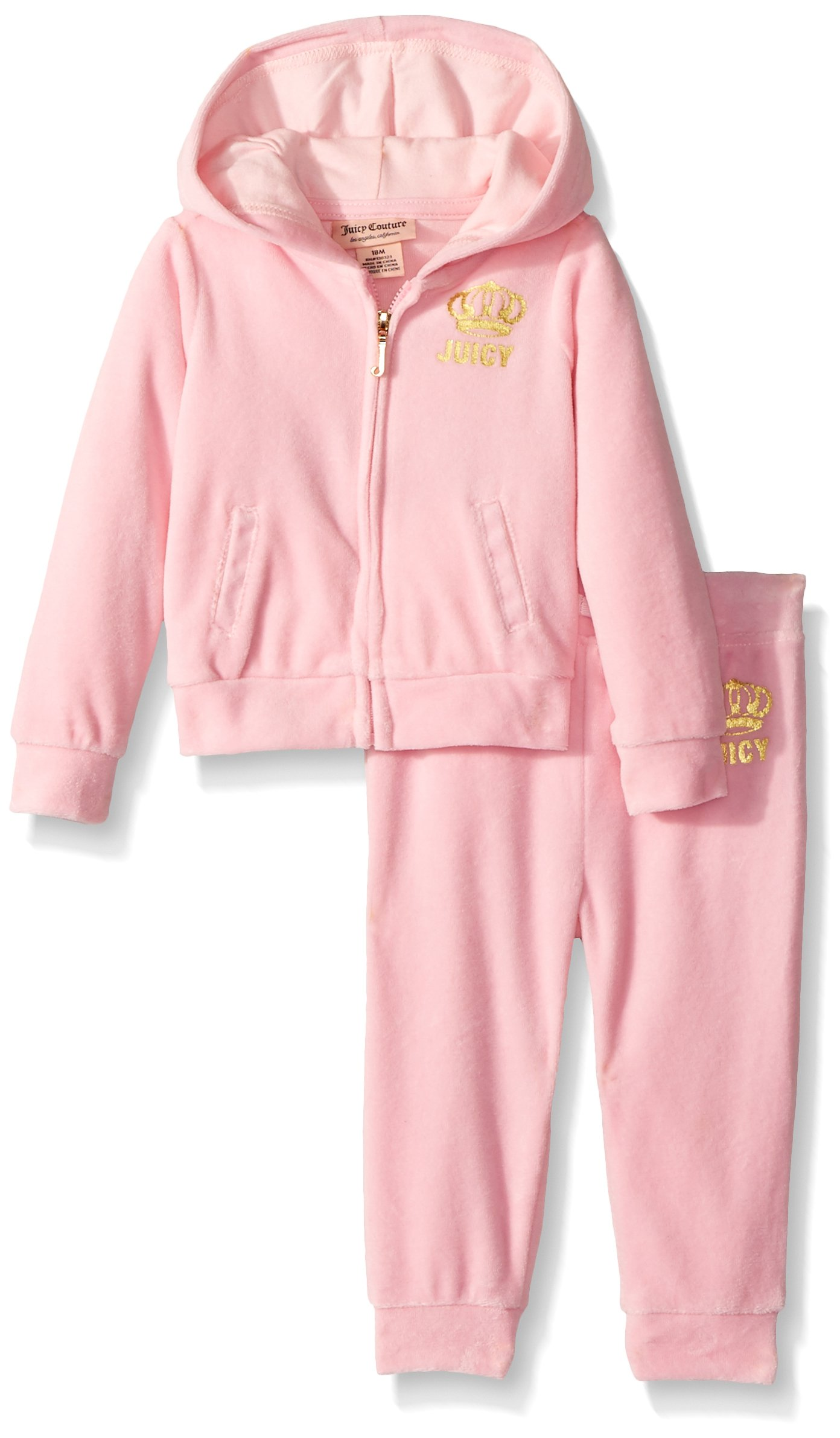Juicy Couture Girls' Big 2 Piece Velour Pants Set, Light Pink, 12