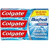 Colgate MaxFresh Whitening Fluoride Gel Toothpaste, Cool Mint, 150 Milliliters, 3 Count