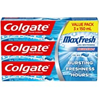Colgate MaxFresh Whitening Fluoride Gel Toothpaste, Cool Mint, 3 X 150 mL