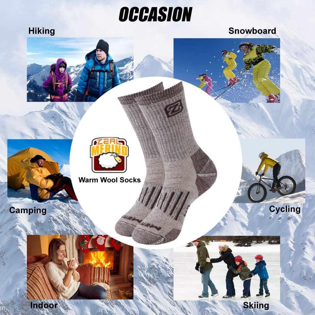 ZEALWOOD Unisex Hiking Trekking Crew Socks Thermal Warm Winter Socks,1//2//3//4 Pairs Merino Wool Socks