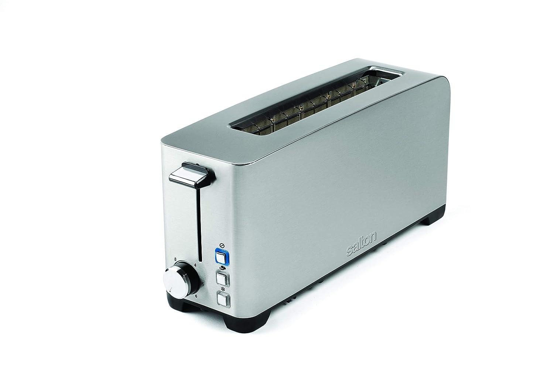 Salton ET1816 Space Saving Long Slot Electric, 2 Slice Toaster Silver