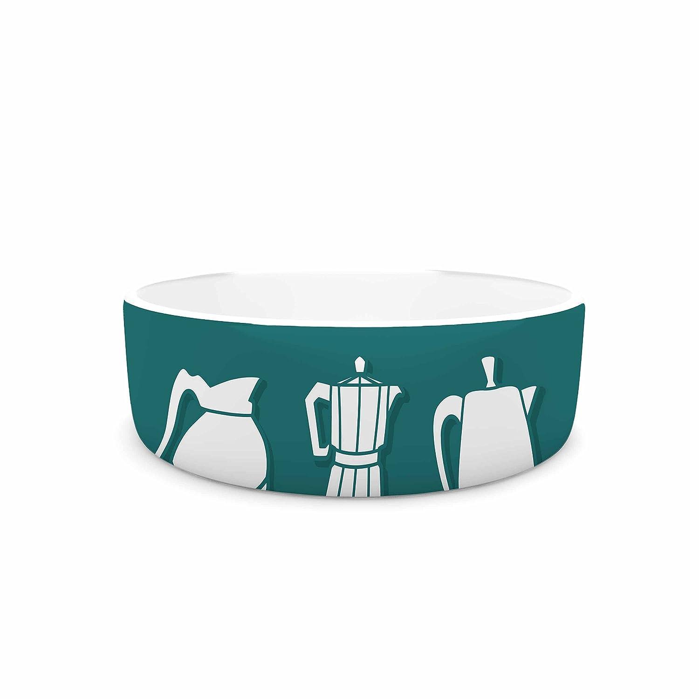 7\ KESS InHouse Busy Bree Pot Head  Teal Digital Pet Bowl, 7