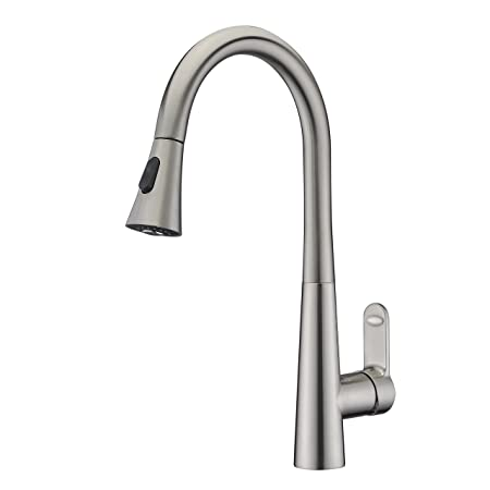 Brushed Nickel Kitchen Sink Taps With Pull Out Sprayer Wenken Single