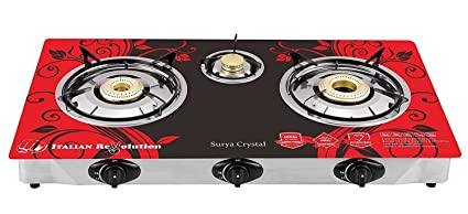 d8d6ed15785 POWERONIC ILU SURYA Crystal 3 Burner Automatic Gas Stove Butterfly Design-  Red