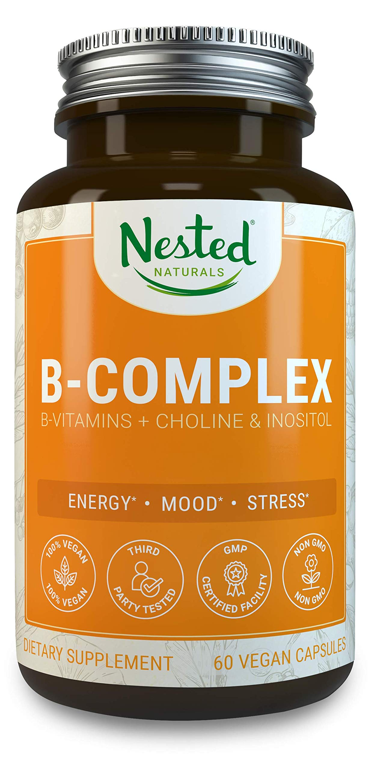 All 8 B-Complex Vitamins Plus Choline & Inositol | 60 Vegan Capsules | High Potency Multi B Vitamin with Pure Methyl B12 | Best B-Vitamins Complex Supplement for Men & Women