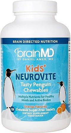 Dr. Amen brainMD Kids NeuroVite - Orange Flavor - 120 Penguin Shaped Chewables - Multivitamin & Mineral Supplement, Promotes Healthy Development & Growth - Gluten-Free - 60 Servings