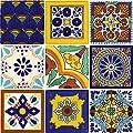 Tierra y Fuego Tile SET - Nine (9) 4¼ x 4¼ In. Ceramic Mexican Tiles - Talavera
