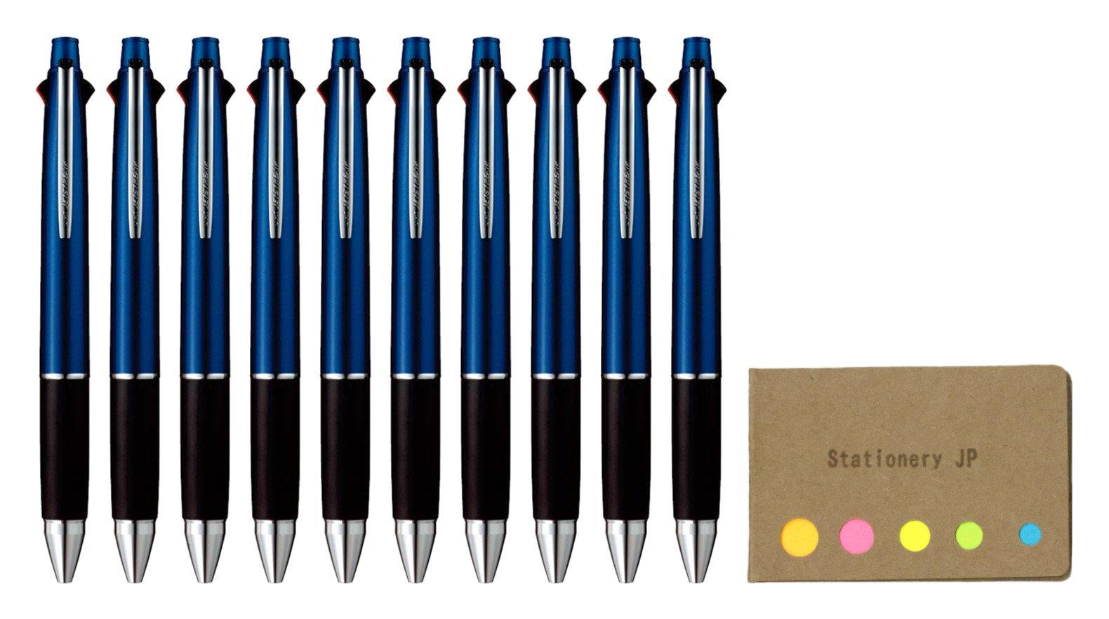 Uni-ball Jetstream 4&1 4 Color Extra Fine Point 0.38mm Ballpoint Multi Pen, Navy Barrel, 10-pack, Sticky Notes Value Set