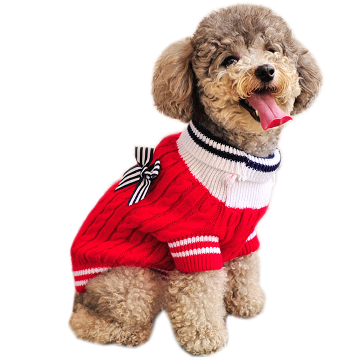 Alfie Pet by Petoga Couture - Sunny Cable Knit Sweater with Ribbon - Color: Red, Size: Medium