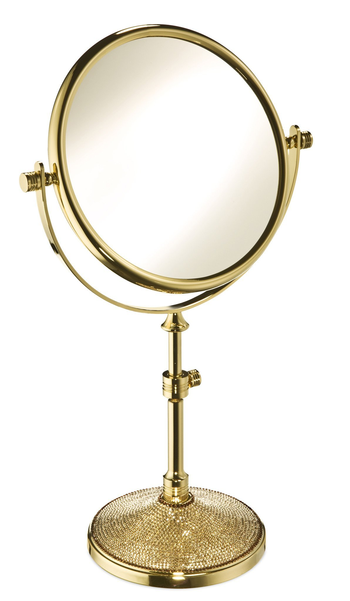 Starlight Table 3x Magnifying Make up Cosmetic Adjustable Mirror W/ Swarovski Crystals (Polished Gold)
