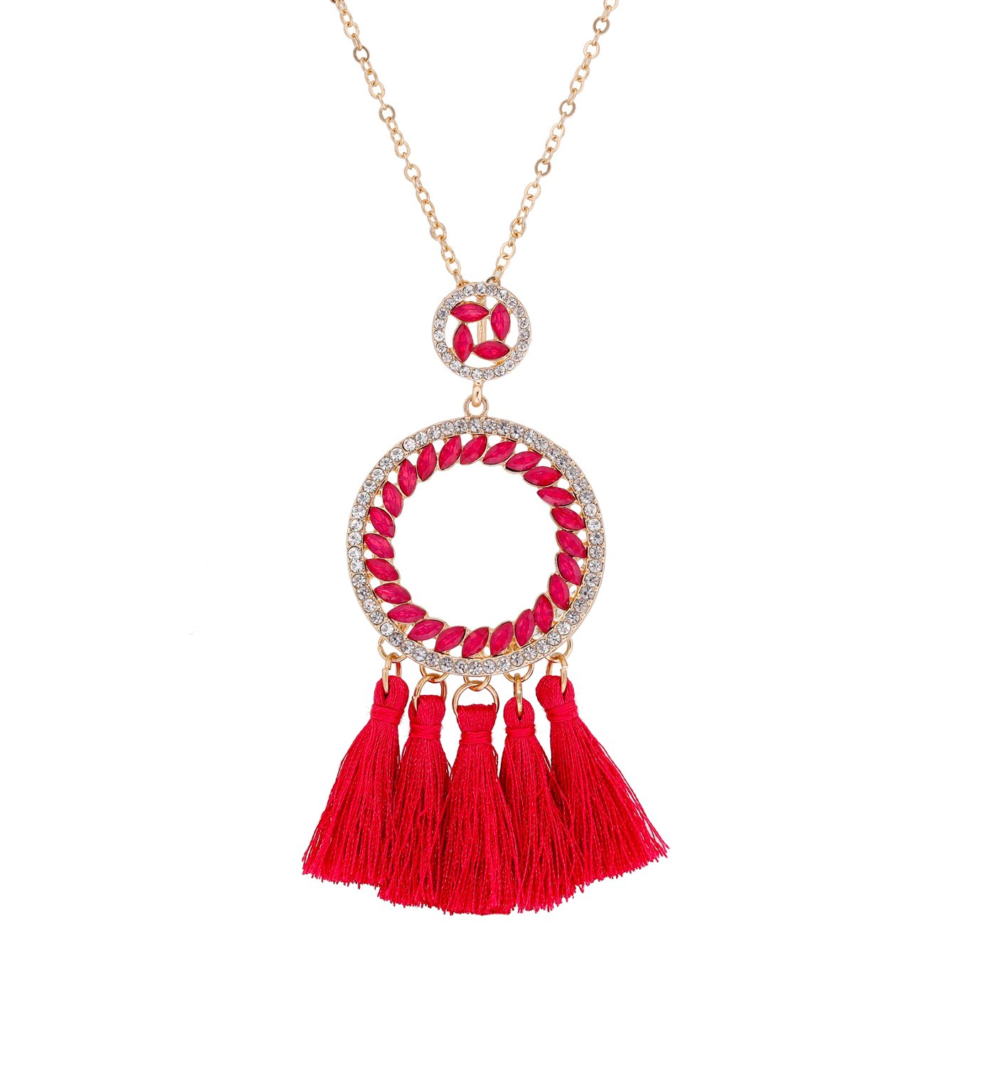 PHALIN JEWELRY Long Chain Necklace Crystal Circle Pendant Necklaces Delicate Bohemia Tassel Necklace for Women Girls