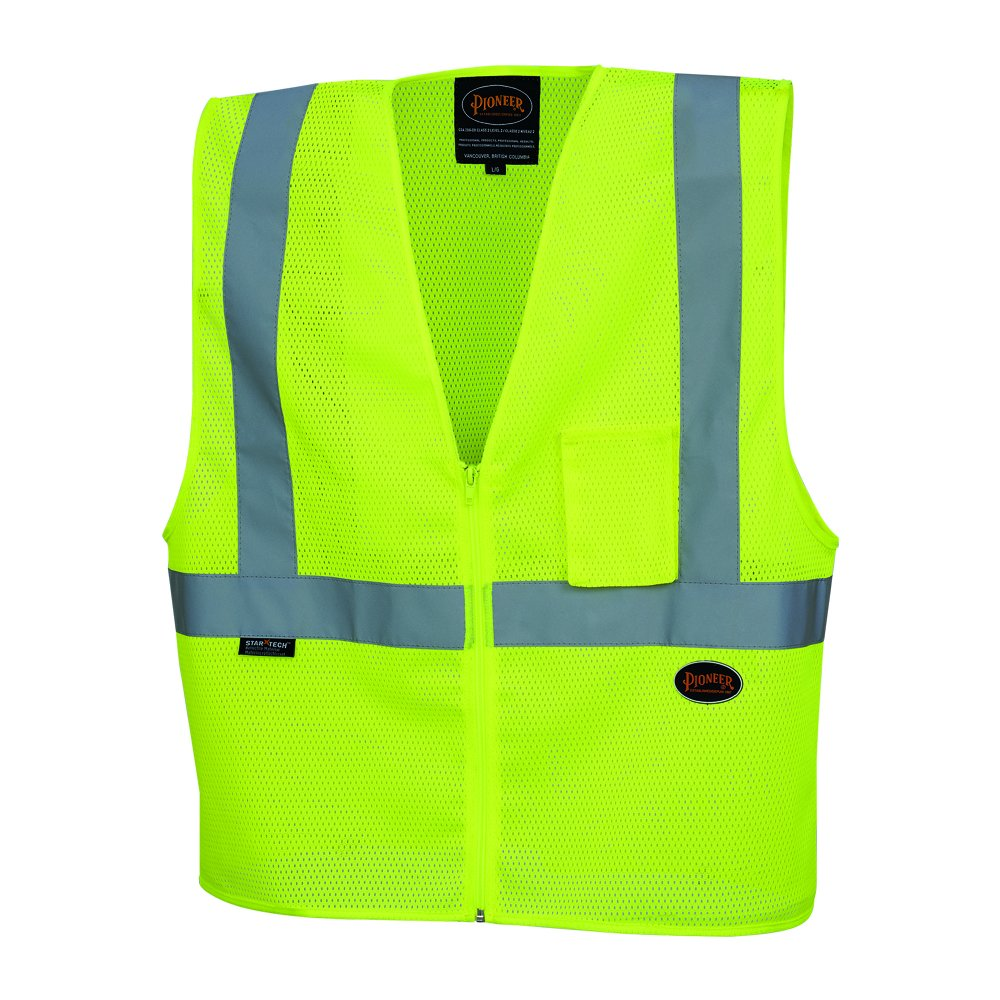 Pioneer V1060360U Hi-Vis Polyester Mesh Safety Vest Yellow//Green 2XL