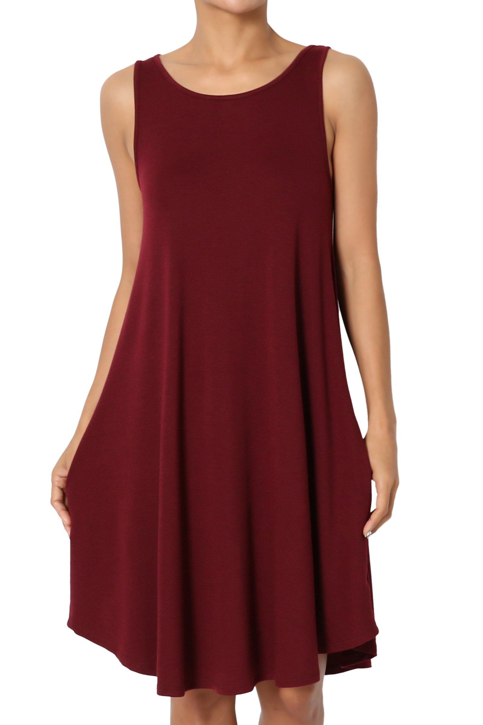 TheMogan Women's Sleeveless Trapeze Knit Pocket T-Shirt Dress Burgundy 2XL