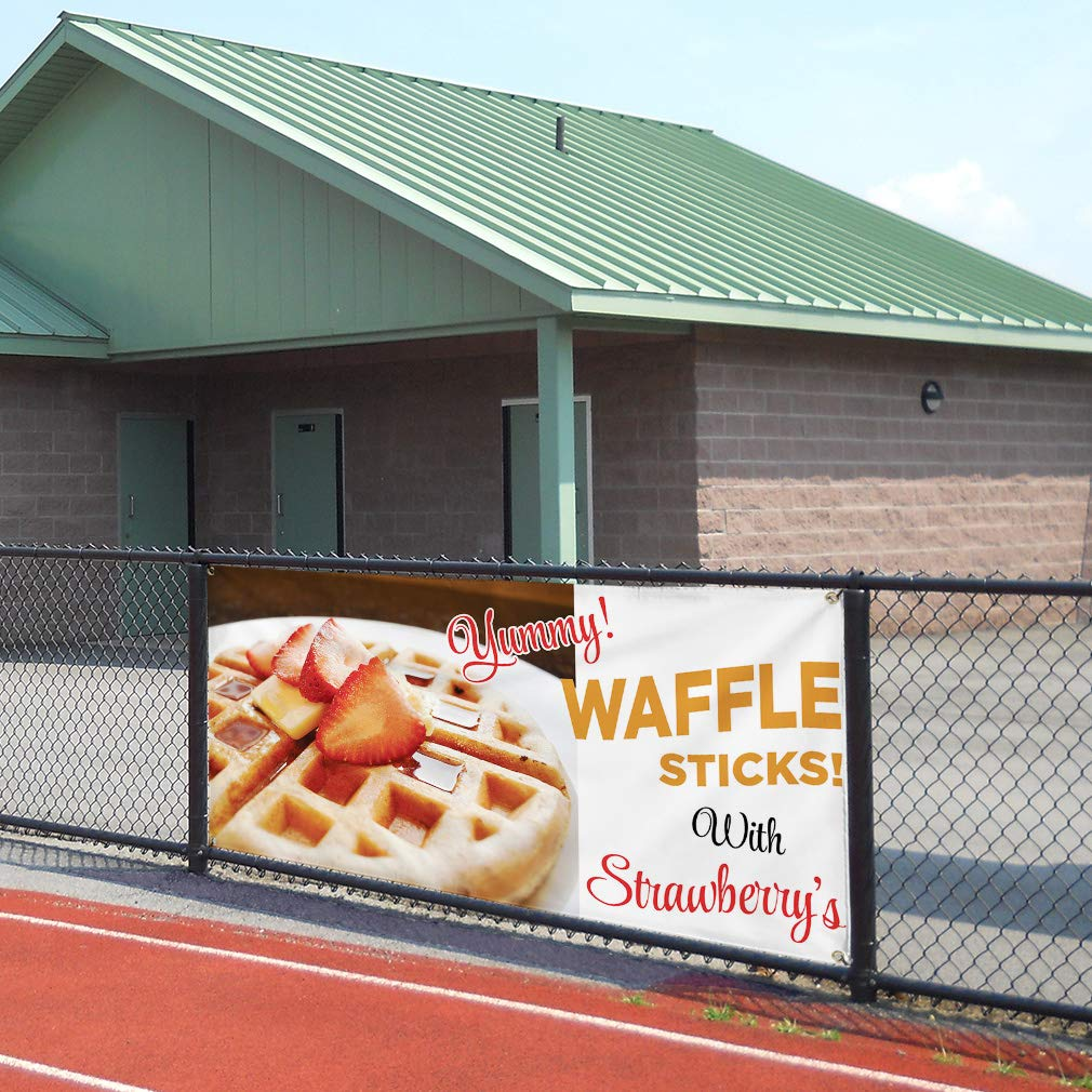 24inx60in Vinyl Banner Sign Waffle Brown Red Black White Waffles Marketing Advertising White Multiple Sizes Available 4 Grommets Set of 3