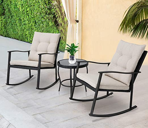 Solaura Outdoor Rocking Chairs Bistro Set 3-Piece Black Steel Furniture with Brown Thickened Cushion /& Glass Coffee Table