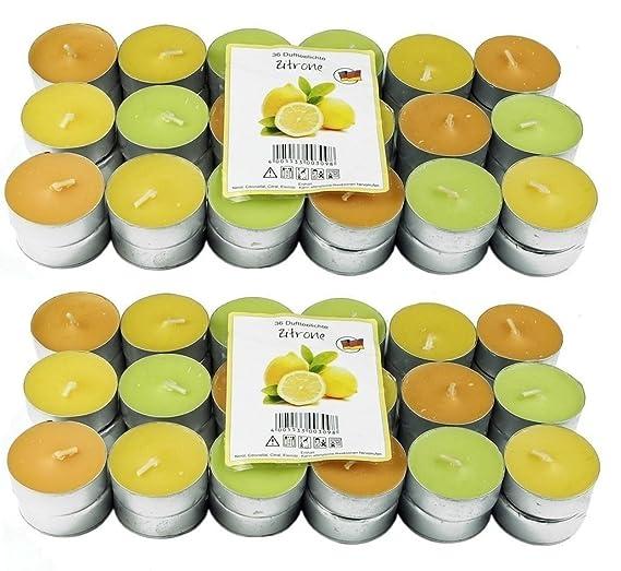 72 Zitronella Duftlichte Teelichter , farbig gemischt , Aromatischer Zitronen Duft , Anti Mücken Kerzen , Duftkerzen , Outdoo