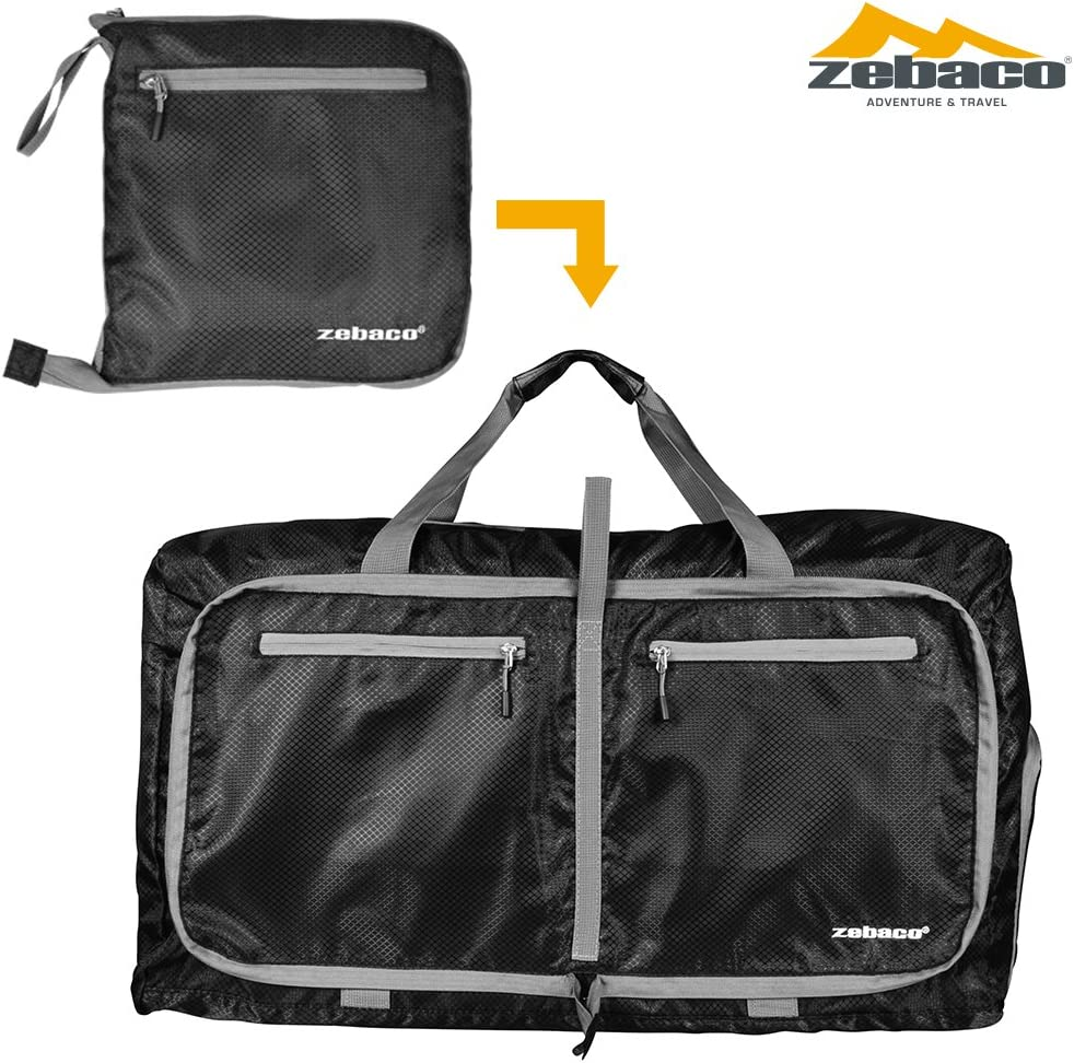 Sports Duffel Backpack Lightweight Foldable Luggage Travel Water Resistant Nylon Gym Bags With Shoulder Strap ZEBACO Folding Ripstop Multi Bag Packable 75L