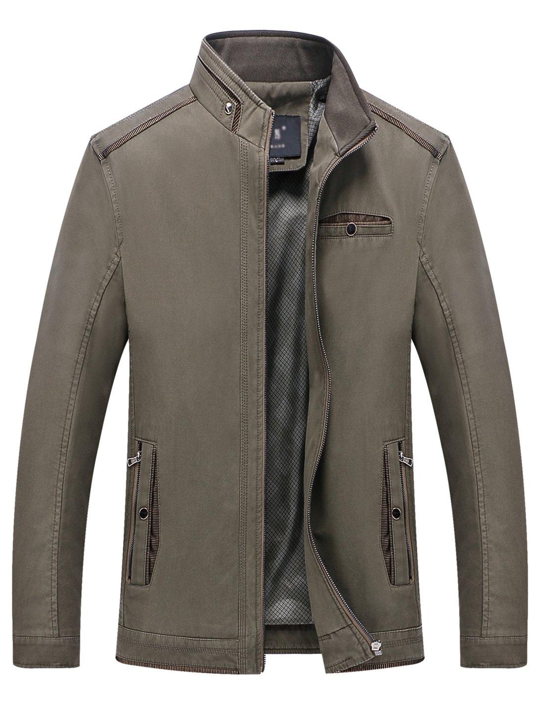 Springrain Men's Casual Slim Fit Stand Collar Cotton Jackets (XX-Large, Dark Khaki)
