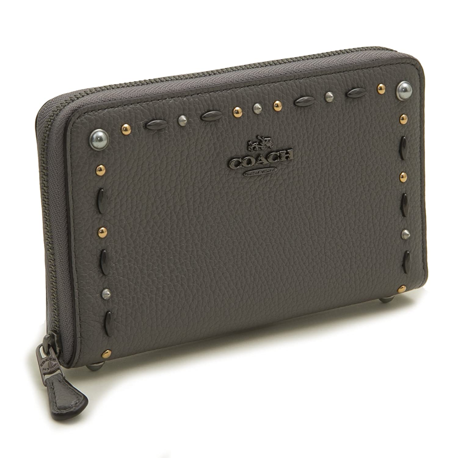 3621a0751dd ... discount code for coach womens medium zip around wallet with prairie  rivets 22892 dkhgr 59578 a694b