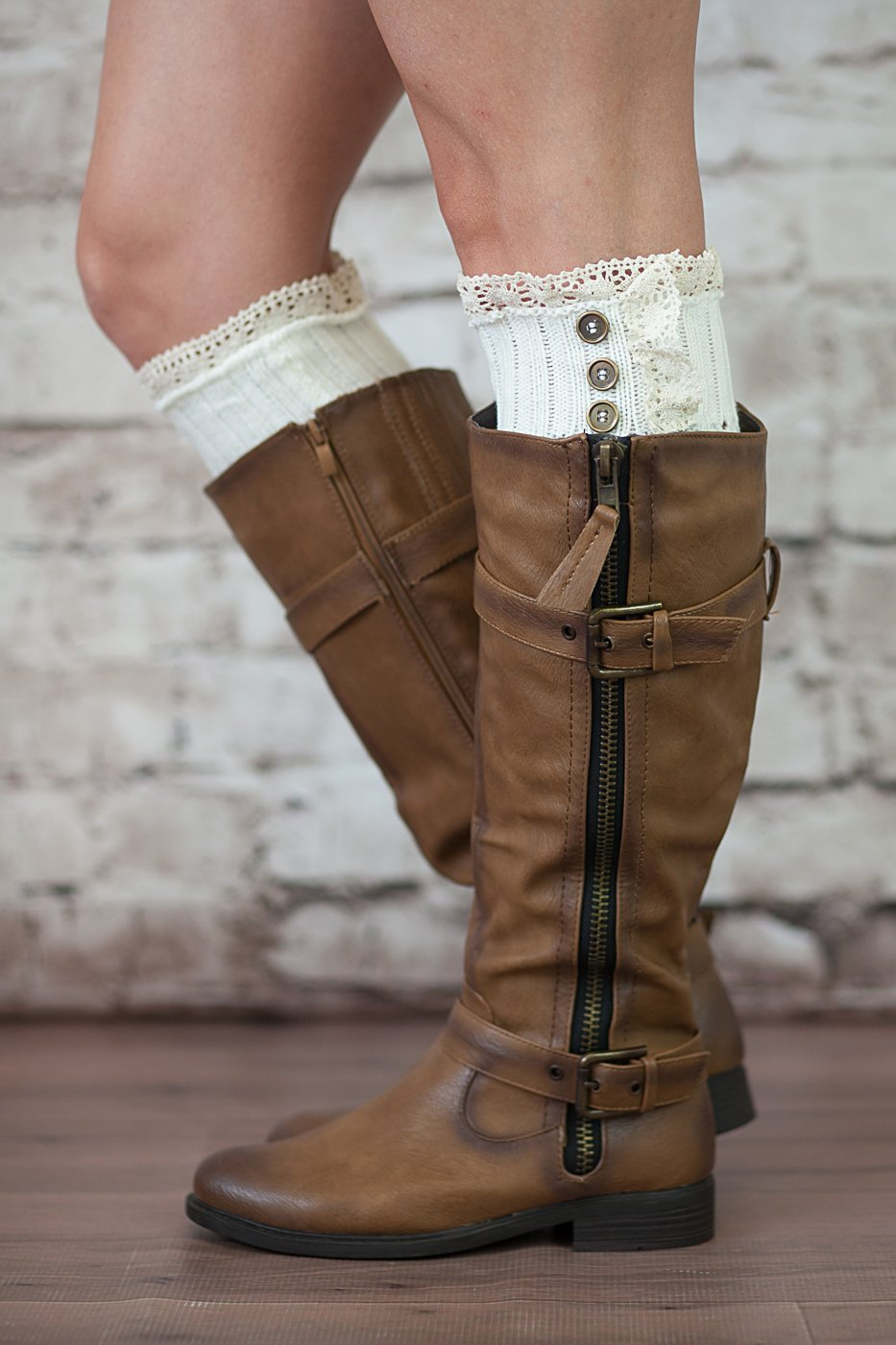Boot Cuffs Vintage 3 Button Style Women's Boutique Socks Brand by Modern Boho Ivory by Boutique Socks (Image #3)