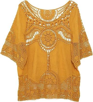 jastie Boho Hippie - Camiseta de Ganchillo para Mujer ...