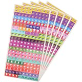Assorted Color Calendar Reminder Stickers - Sticker Reminders for Appointments, Events for School, Pay Day, and More - 5 Sheets, 1050 Stickers