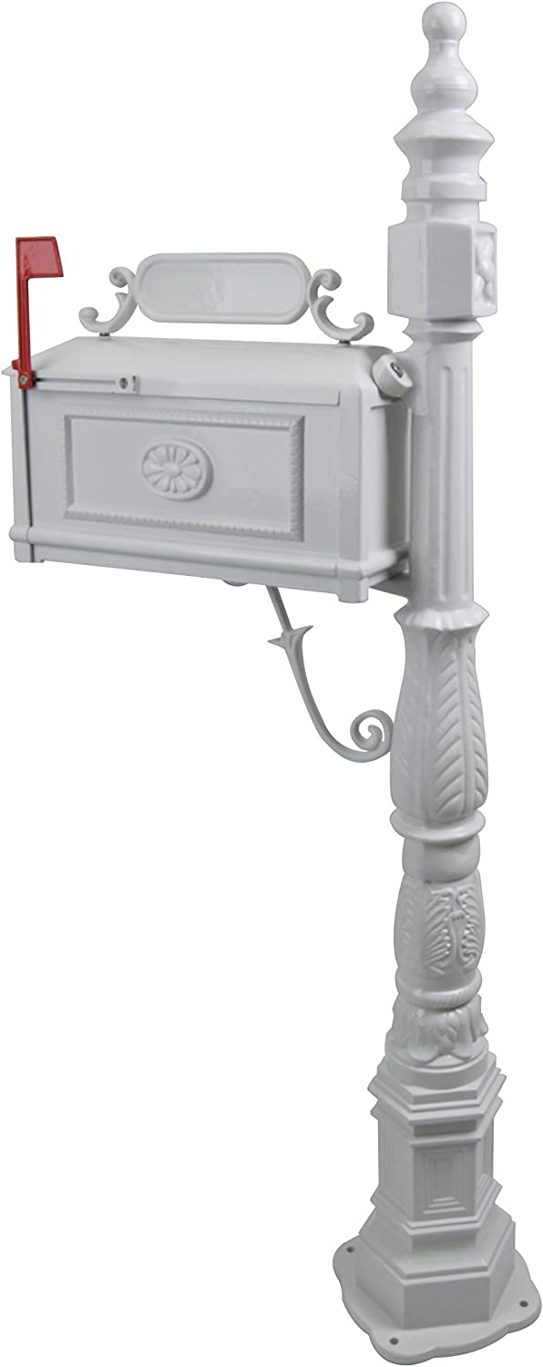 Polar Aurora Barcelona Decorative Post Mailbox Combination Stratford Heavy Duty Postal Mail Box Cast Aluminum(White)