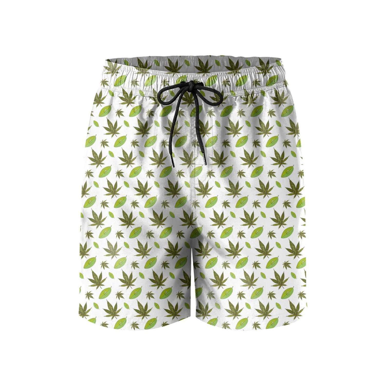 Microfiber Cannabis and Coca Pattern Quick Dry Swim Mens Shorts Printed