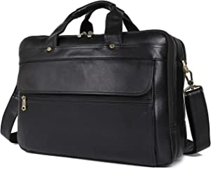 Texbo Men's Solid Full Grain Leather 16 Inch Laptop Briefcase Messenger Shoulder Bag (New Version)