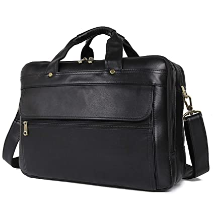 720b2fabee6b Polare Natural Napa Leather Men's 16'' Black Business Briefcase/Laptop Bag