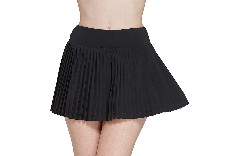 Black(full Pleated) HonourSport Women's Elastic Pleated Tennis Skort with Pockets