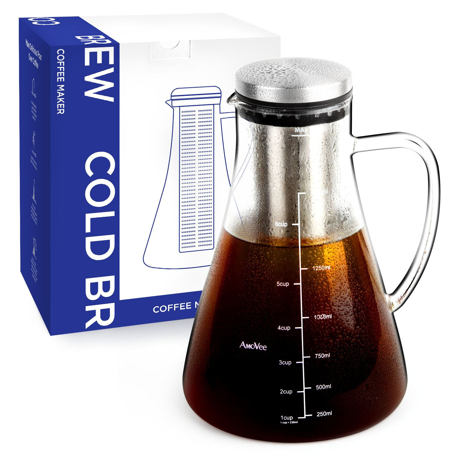 Cold Brew Coffee Maker AMOVEE 1.5L (51oz) Airtight Borosilicate Glass Carafe Tea Infuser Pitcher with Removable Stainless Steel Filter for Coffee or Tea Brewing