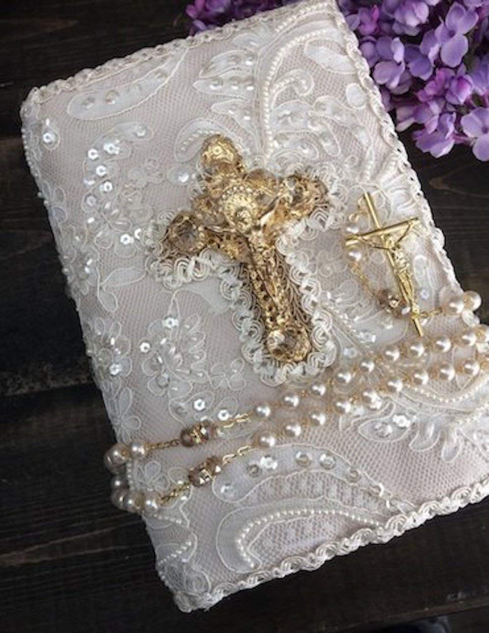 Lace Wedding bible and Rosary, Bible Rosary Set, Libro y Rosario, catholic bible, wedding bible rosary, lace bible, lace communion bible