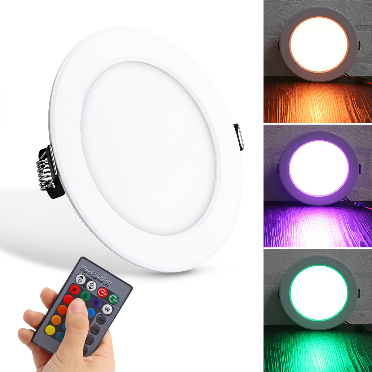 Houkiper 10W RGB LED Panel Light Concealed Recessed Lighting Lamp Round Ceiling Downlight with Remote Control AC 85-265V