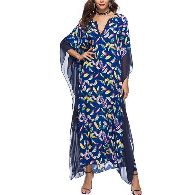 JLTPH Mujeres Vestido Largo Cuello V Manga de Murciélago Floral Impreso Kaftan túnica Kimono Baggy Boho