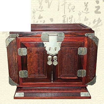 Caja de la joyería de Laos rojo palo de rosa tronco Adornos de madera caoba del