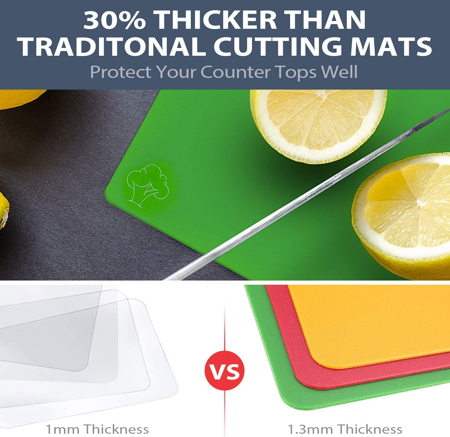 Flexible Plastic Cutting Board Mats Set for Kitchen, Thicker Cutting Sheets with Dishwasher Friendly, No-Porous, BPA-Free, EZ-Grip Handle (Set of 6 Colorful Food Icons) by CHIENTUNG