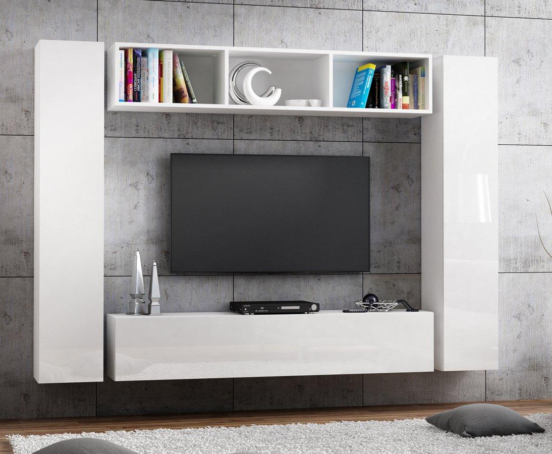 RODRIGO TV Niedrigboard 160cm Weiss Hängeboard Hängeboard Hängeboard Hochglanz TV Board modernes Design (korpus matt weiß+Front weiß Hochglanz) 1f8fca