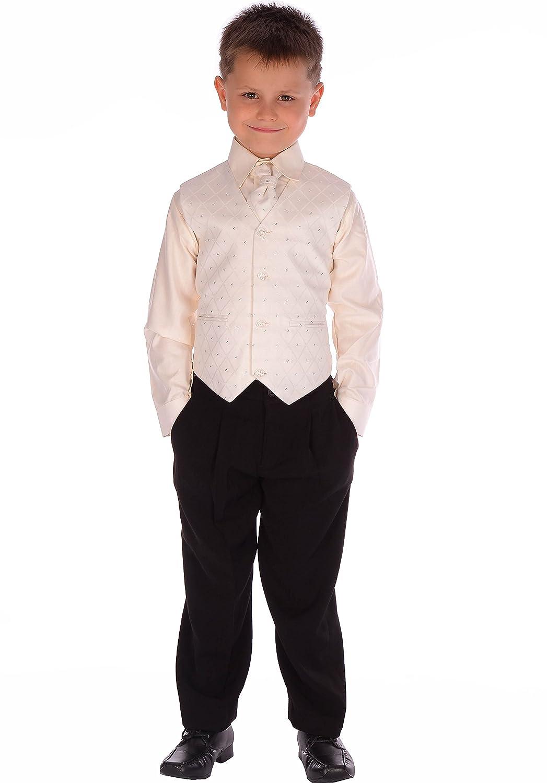 4-Piece Boys Black & Cream Suit