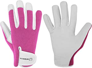 Ladies/Mens Leather Gardening Gloves Thorn Proof Garden work gloves with Goatskin Leather Breathable Spandex Back (Medium, Pink)
