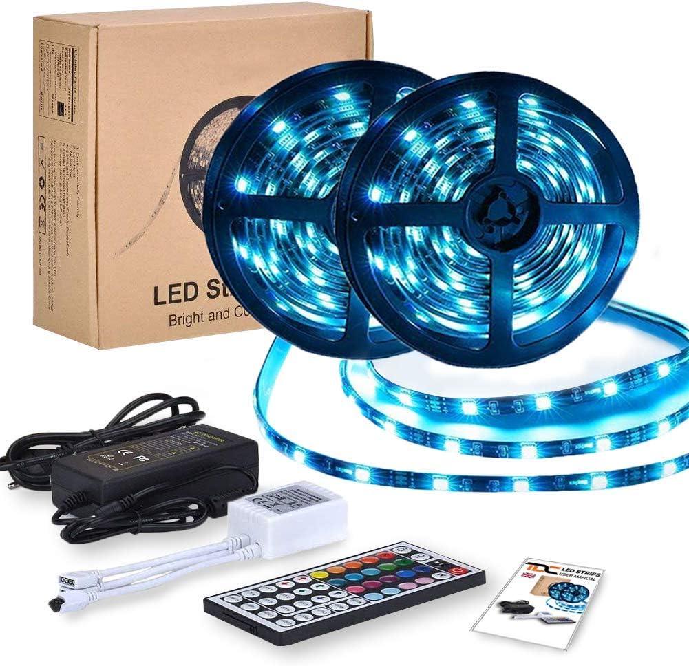 Tiras LED RGB 10m 12V | Tiras de Luces Led Lights - 300 leds 5050 Impermeable IP65 | Led Strip Con Mando y Trasformador | Decorativas como Luces Led Habitación TV y Exterior