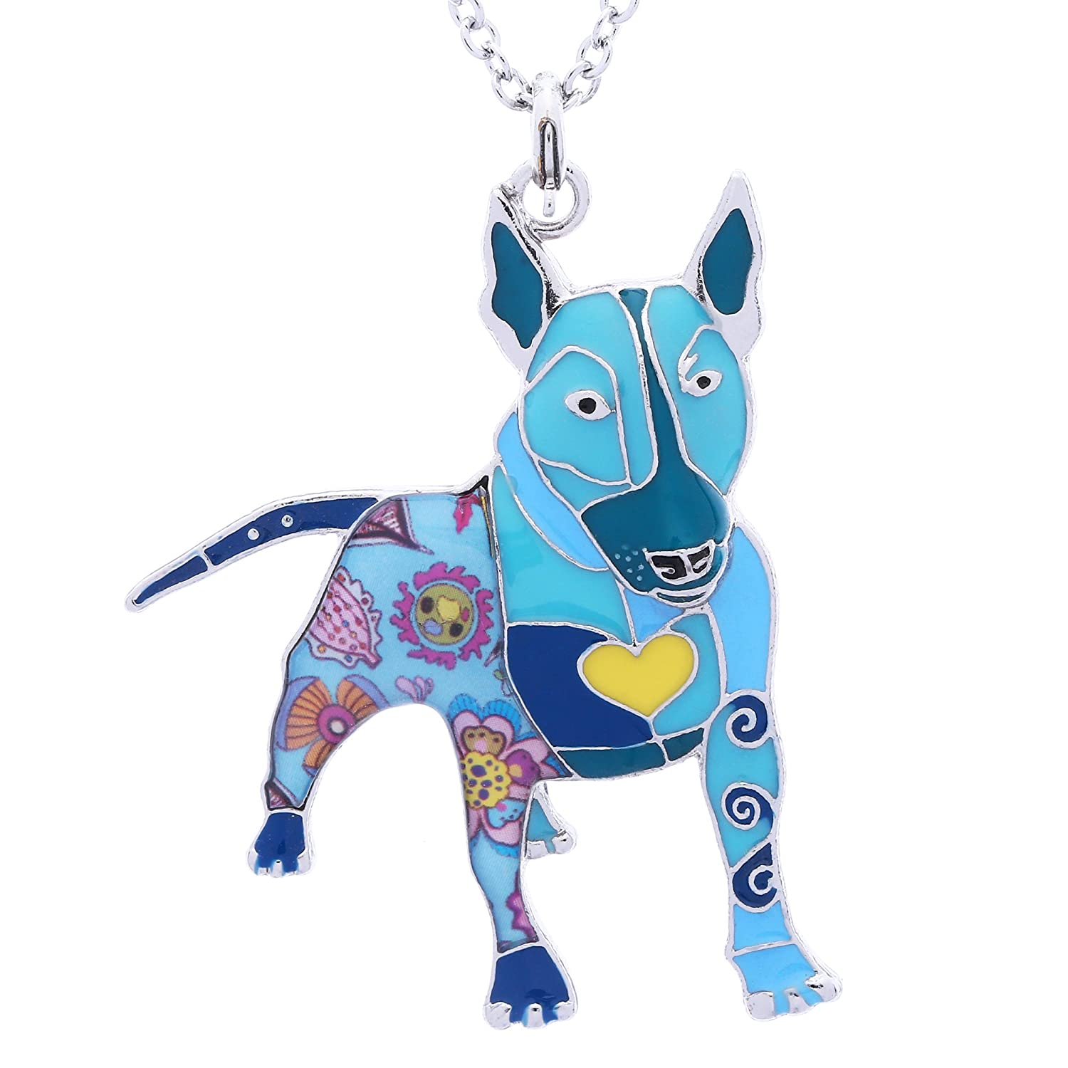 Luckeyui Bull Terrier Dog Necklace & Pendants for Girls Novelty Pet Lover Gifts Keychain Jewelry LUCKY003-Black