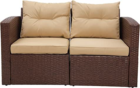 SUNVIVI OUTDOOR Patio Furniture Corner Sofa Wicker Loveseat, 2 Piece Rattan Outdoor Auminum Sectional Sofa Set with Tan Cushions,Extra Chair Furniture (Brown)