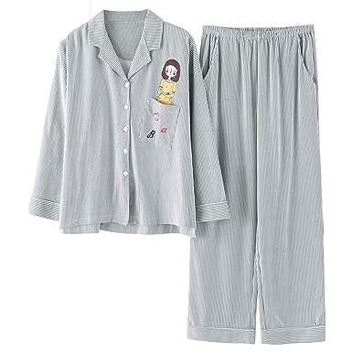 2e5a398e40 Plus Size Fashion Striped Pajama Sets for Women Cotton Casual Pyjamas  Pijama Girls Long Sleeve Sleepwear at Amazon Women s Clothing store