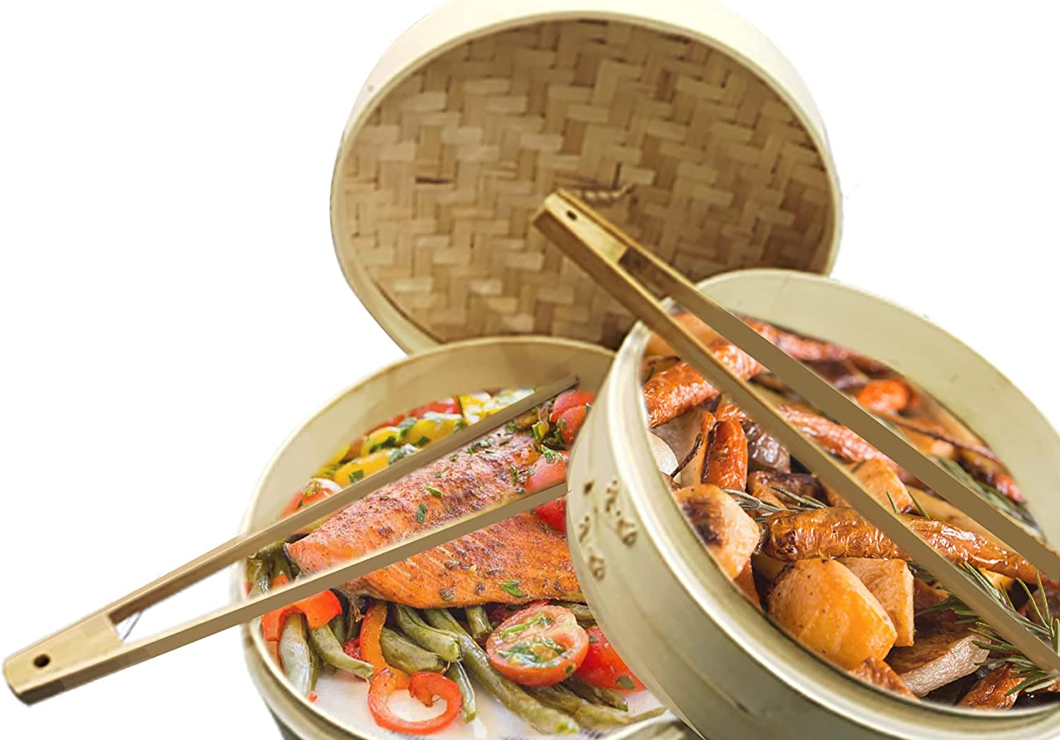 Bamboo Steamer for Cooking Vegetables and Dumplings-Includes 2 Tier Food Steamer and Silicon Mat -Great for Dim Sum, Chicken, Fish, and Veggies - Steaming Basket- Food Steamers - Korean Cookware