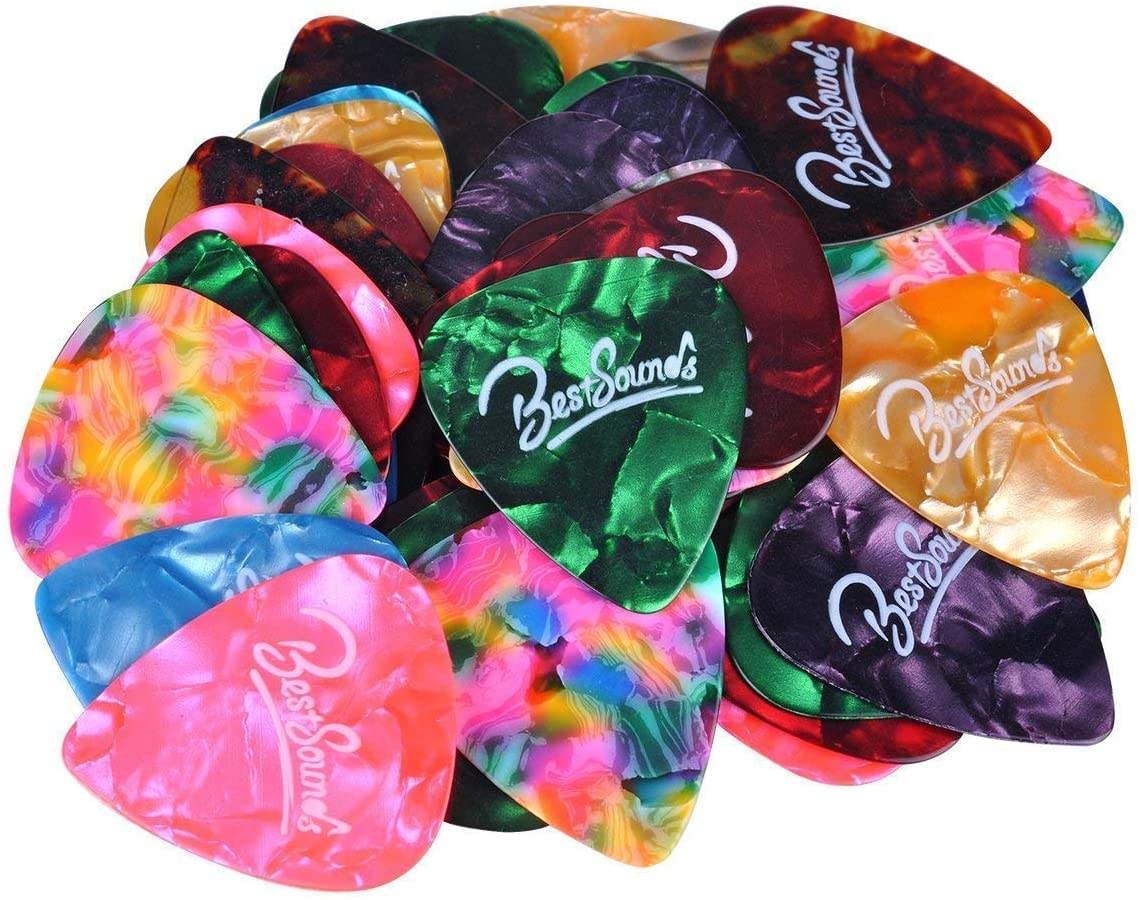 THIN 0.46mm 10 x CELLULOID GUITAR PICKS PLECTRUMS ASSORTED COLOURS