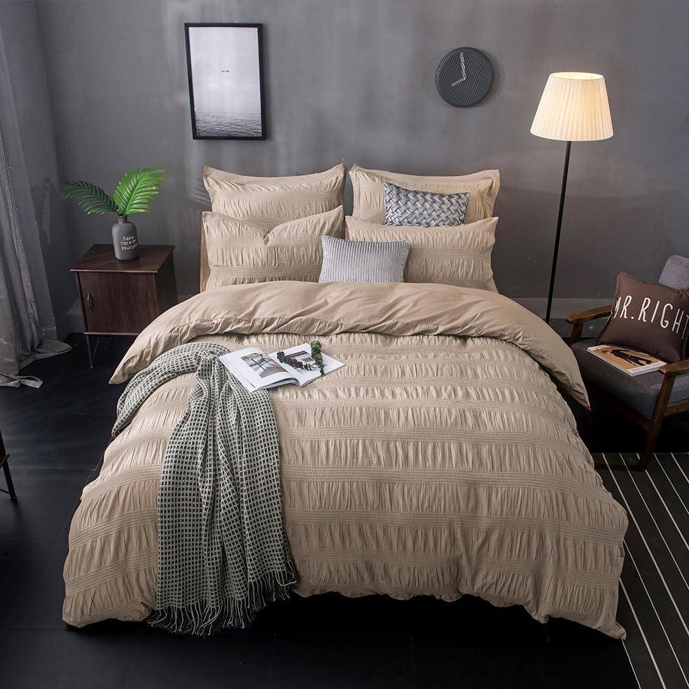 Merryfeel Cotton Duvet Cover Set,100% Cotton Yarn Dyed Seersucker Comforter Cover with 2 Pillowshams,3 Pieces Bedding Set - Full/Queen Khaki